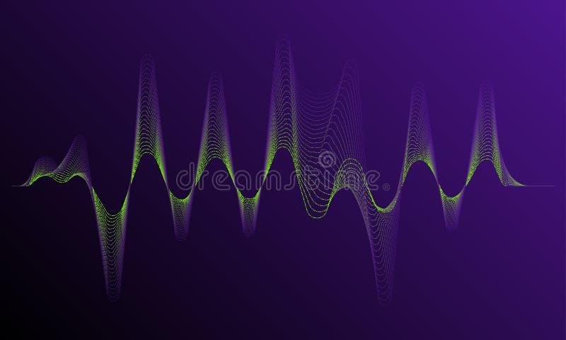 Ядровая форма волны частоты Динамическая светлая подача с влиянием неонового света иллюстрация штока