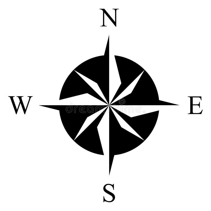 Ясный вектор символа лимба картушки компаса для морской или морской навигации и также для включения в карте на изолированной бело иллюстрация штока