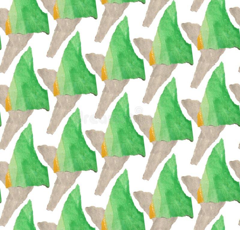 Яркая, абстрактная безшовная картина сделанная с сорванной покрашенной бумагой иллюстрация вектора