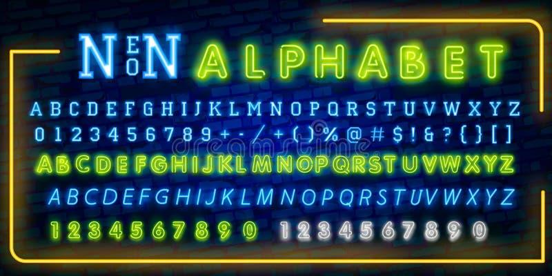 Яркие неоновые письма, номера и символы алфавита подписывают внутри вектор Выставка ночи Ночной клуб Неоновая иллюстрация бесплатная иллюстрация
