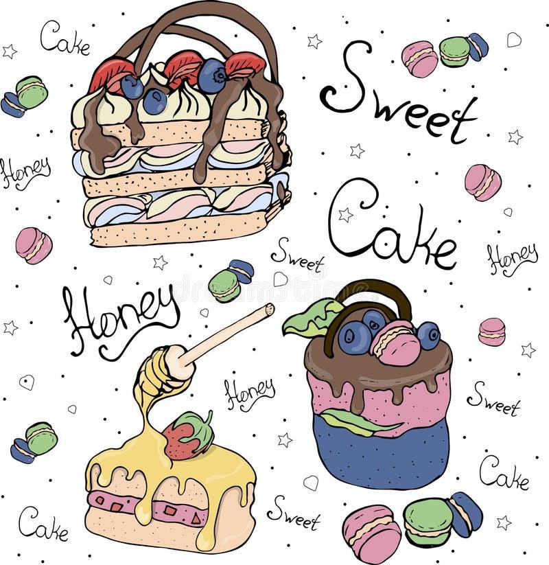 Яркие торты и fruitcakes Торт иллюстрация штока