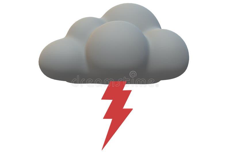 Яркий красный символ удара молнии растя из темного серого облака иллюстрация штока