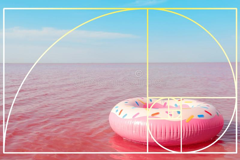 Яркое раздувное кольцо плавая в розовое озеро стоковое изображение rf