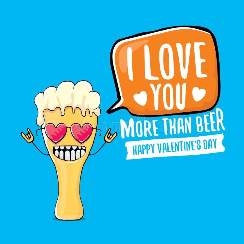 Я тебя люблю больше чем поздравительная открытка дня Святого Валентина вектора пива с персонажем из мультфильма пива изолированны бесплатная иллюстрация