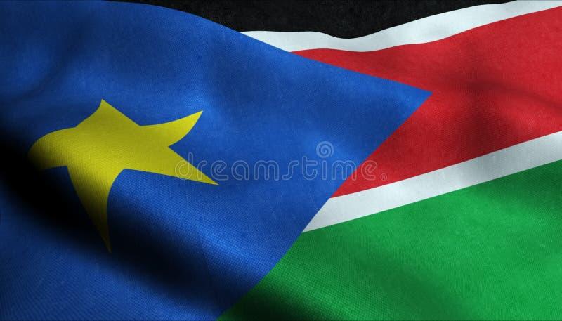 Южный флаг Судана развевая в 3D стоковые фото