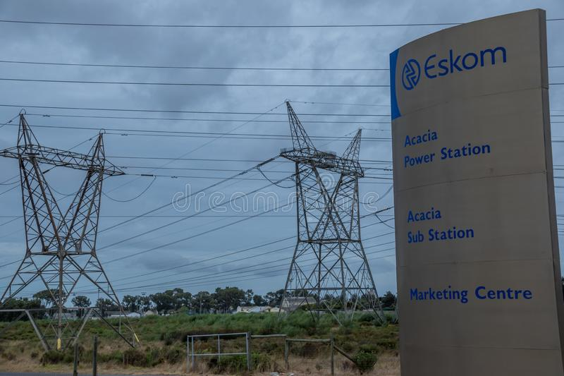 Южно-африканское энергоснабжение на краю сброса давления стоковые изображения