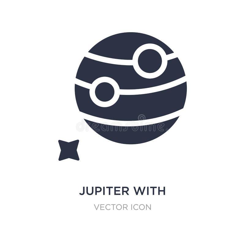 Юпитер со спутниковым значком на белой предпосылке Простая иллюстрация элемента от концепции астрономии бесплатная иллюстрация