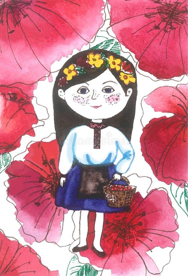 Украинская девушка в цветках мака иллюстрация вектора