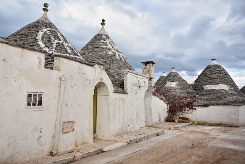 Уникальные дома Trulli Alberobello стоковое изображение rf