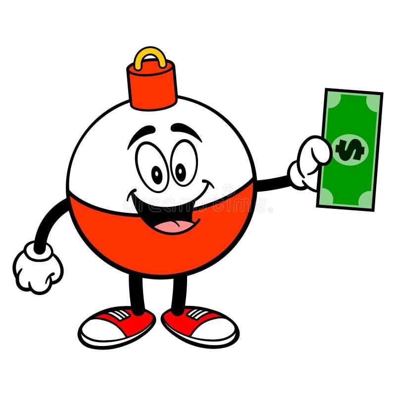 Удить талисман Bobber с долларом бесплатная иллюстрация