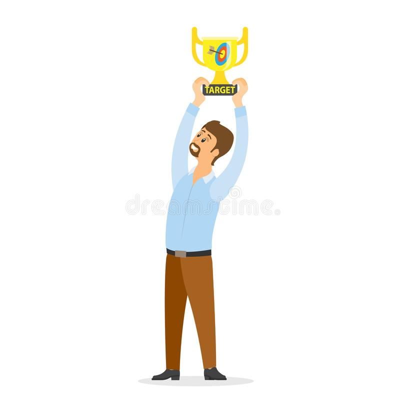 Усмехаясь вектор награды удерживания победителя надземный бесплатная иллюстрация