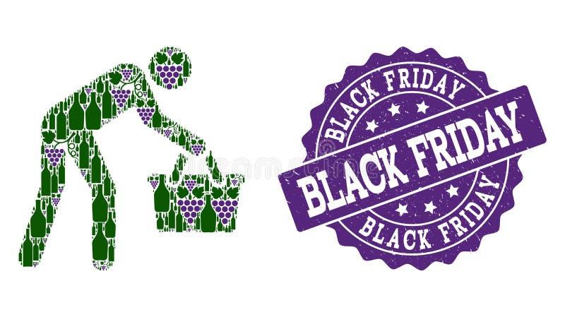 Уставшая мозаика персоны покупателя бутылок вина и виноградины и печати Grunge бесплатная иллюстрация