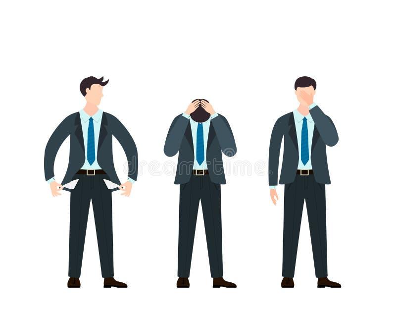 Установите грустных людей в деловом костюме и связи иллюстрация штока