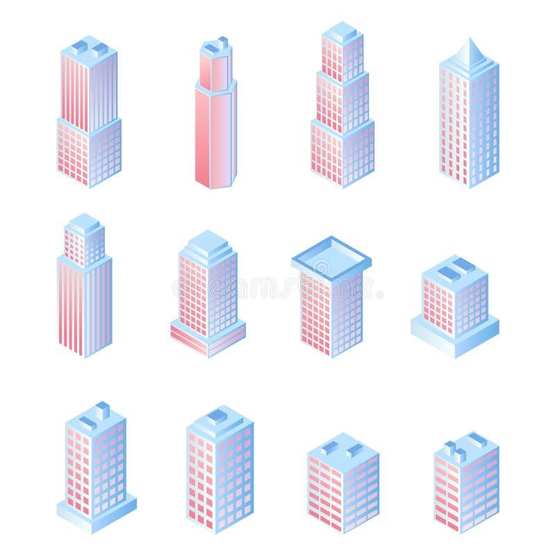 Установите зданий городка вектора жилых для дизайна равновеликого нововведения плоского иллюстрация штока