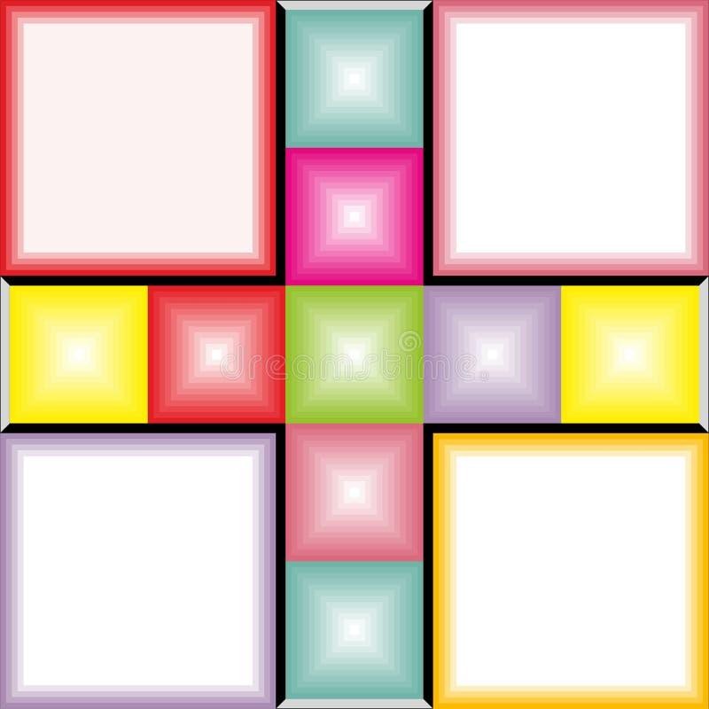 Установите красочной ретро предпосылки с вектором 13 квадратов белым иллюстрация вектора