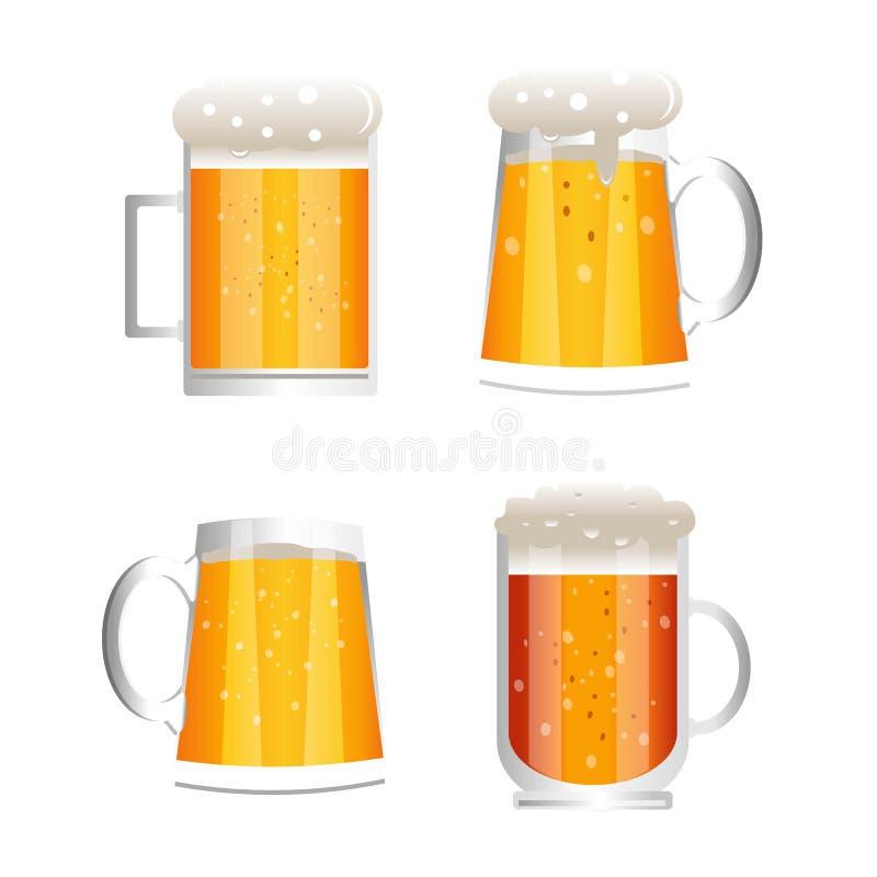Установите кружек пива изолированных на белой предпосылке иллюстрация вектора