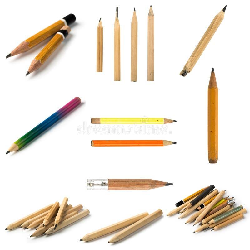 Установите коротких карандашей на изолированной предпосылке стоковые изображения