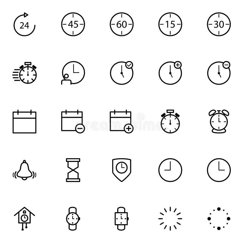 Установите линии значков часов иллюстрация вектора
