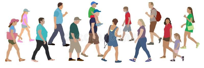 Установите людей идя к одину другого, иллюстрации вектора бесплатная иллюстрация