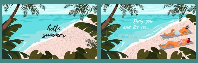 Установите милой иллюстрации человека и женщины пар на предпосылке голубого моря на ультрамодном плоском стиле вектор бесплатная иллюстрация