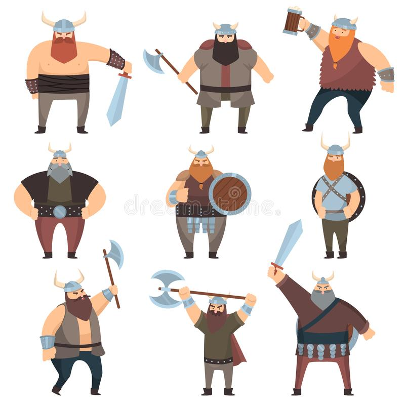 Установите много мужских Викингов с оружиями над белой предпосылкой иллюстрация штока