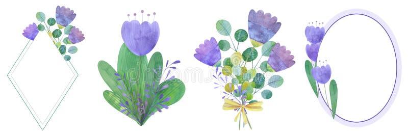 установите нарисованных вручную рамок акварели стилизованных цветков бесплатная иллюстрация