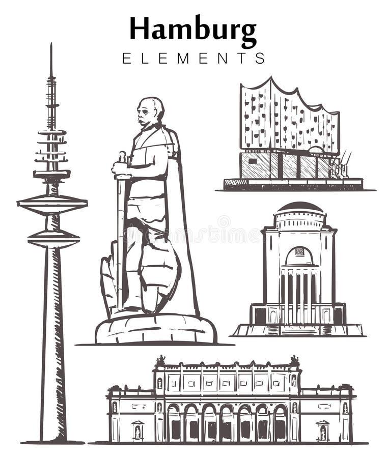 Установите нарисованной вручную иллюстрации эскиза элементов зданий Гамбурга иллюстрация штока