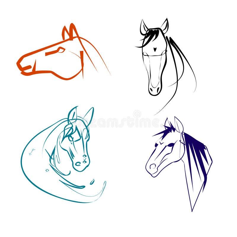 Установите пестротканых линейных логотипов голов лошади иллюстрация вектора
