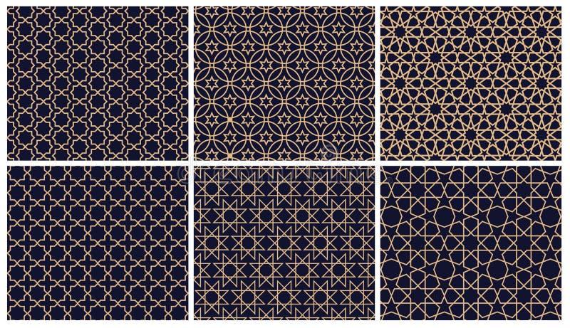 Установите предпосылки 6 арабской картин Геометрический безшовный мусульманский фон орнамента иллюстрация вектора исламской текст бесплатная иллюстрация