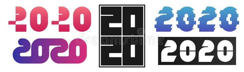 Установите дизайна 2020 текстов Счастливое собрание Нового Года Масштабируемый и editable цвет вектор иллюстрация вектора