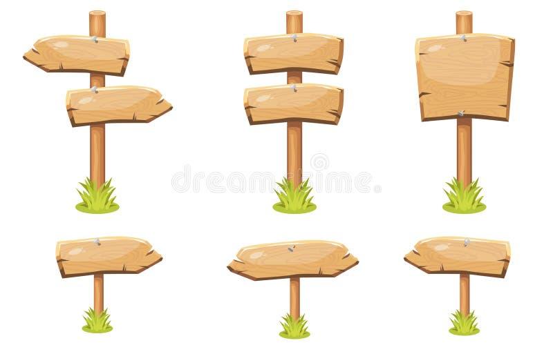 Установите старых деревянных пустых доск знака мультфильма иллюстрация вектора