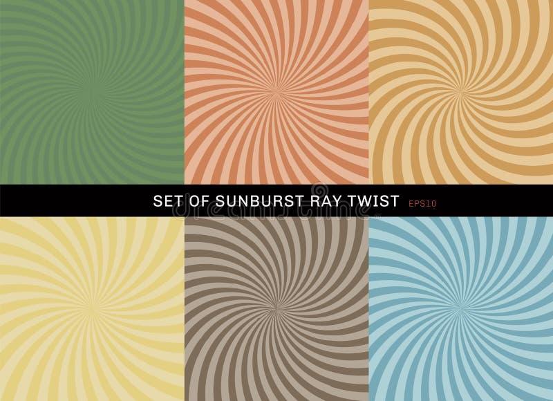 Установите стиля предпосылки извива starburst ретро Собрание зеленого абстрактного sunburst луча радиальное, желтый, голубой, кор иллюстрация вектора