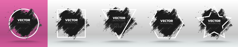Установите шаблона предпосылки черного grunge абстрактного Почистьте дизайн щеткой хода чернил краски над белой рамкой также вект иллюстрация вектора