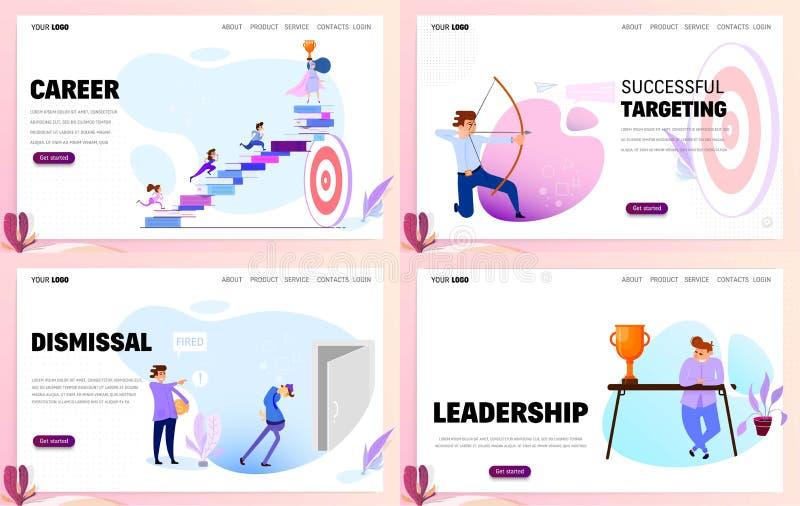 Установите шаблонов вебсайта концепции дела или приземляясь страницы Карьера и руководство иллюстрация штока