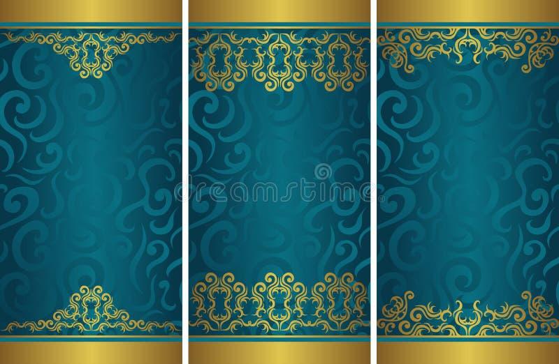 Установите 3 шаблонов винтажных стильных карт с флористическим круглым оформлением бесплатная иллюстрация