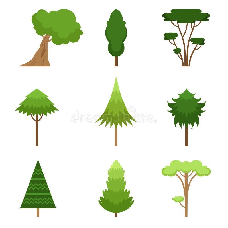 Установите различного дуба деревьев, секвойи, спруса, сосны, кедра, клена, липы также вектор иллюстрации притяжки corel белизна и бесплатная иллюстрация