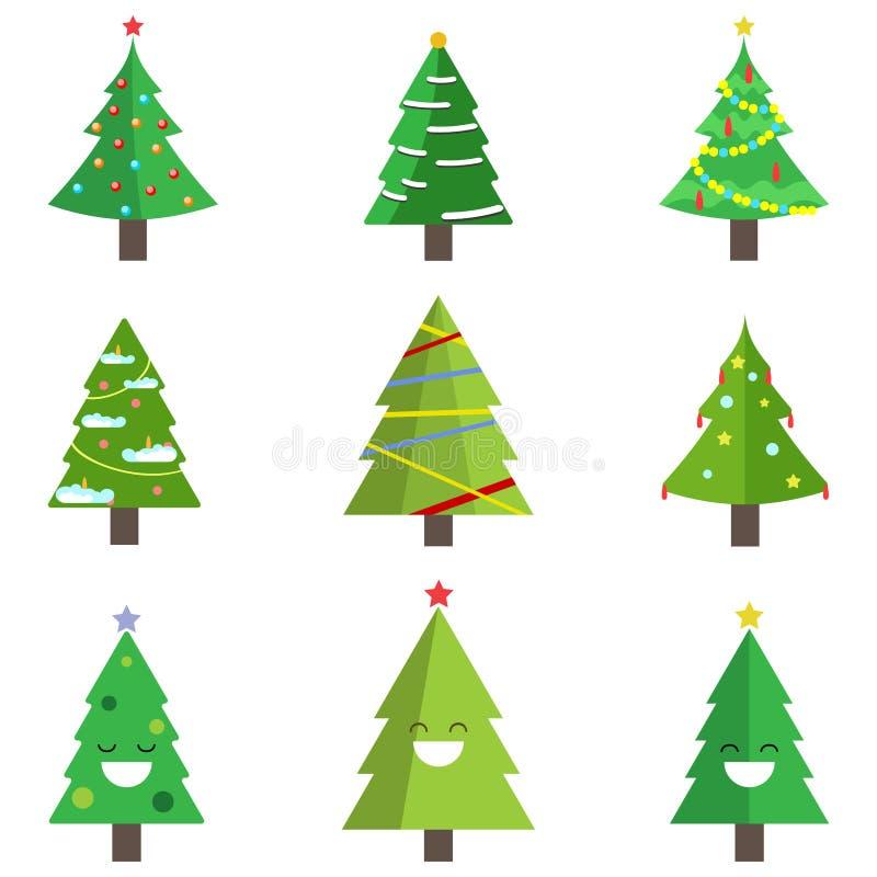 Установите рождественской елки с гирляндой, игрушкой, снегом изолированным на белой предпосылке Веселый xmas, счастливая концепци бесплатная иллюстрация