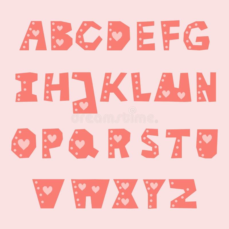 Установите розового letterhead вектора ОТ НАЧАЛА ДО КОНЦА с сердцами, точками и влиянием отрезка бумаги бесплатная иллюстрация
