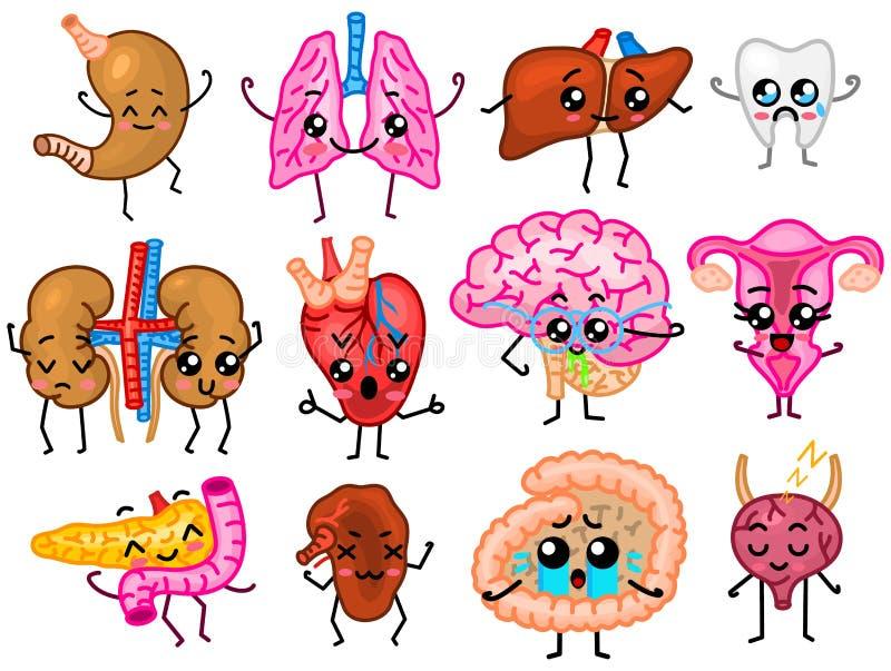 Установите органов Милые счастливые человеческие, усмехаясь характеры Штыри вектора, значки kawaii мультфильма Здоровое сердце, к иллюстрация вектора