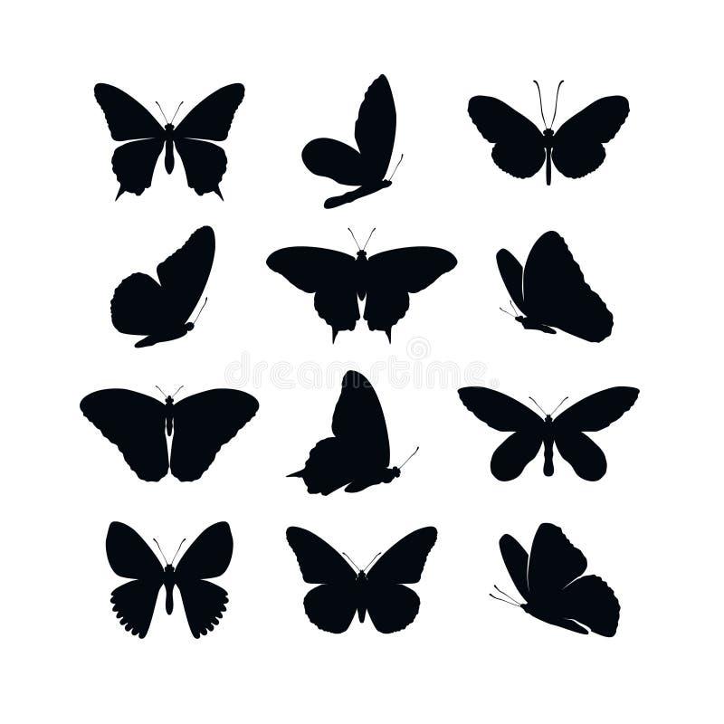 Установленная весна собрания бабочек и силуэты лета черные на белой предпосылке Крылья форм значков различные, для бесплатная иллюстрация
