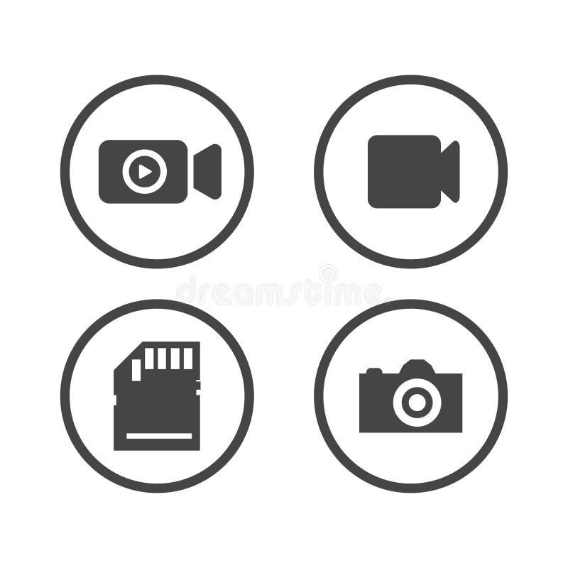 Установленные значки камеры Видео- значок также вектор иллюстрации притяжки corel иллюстрация вектора