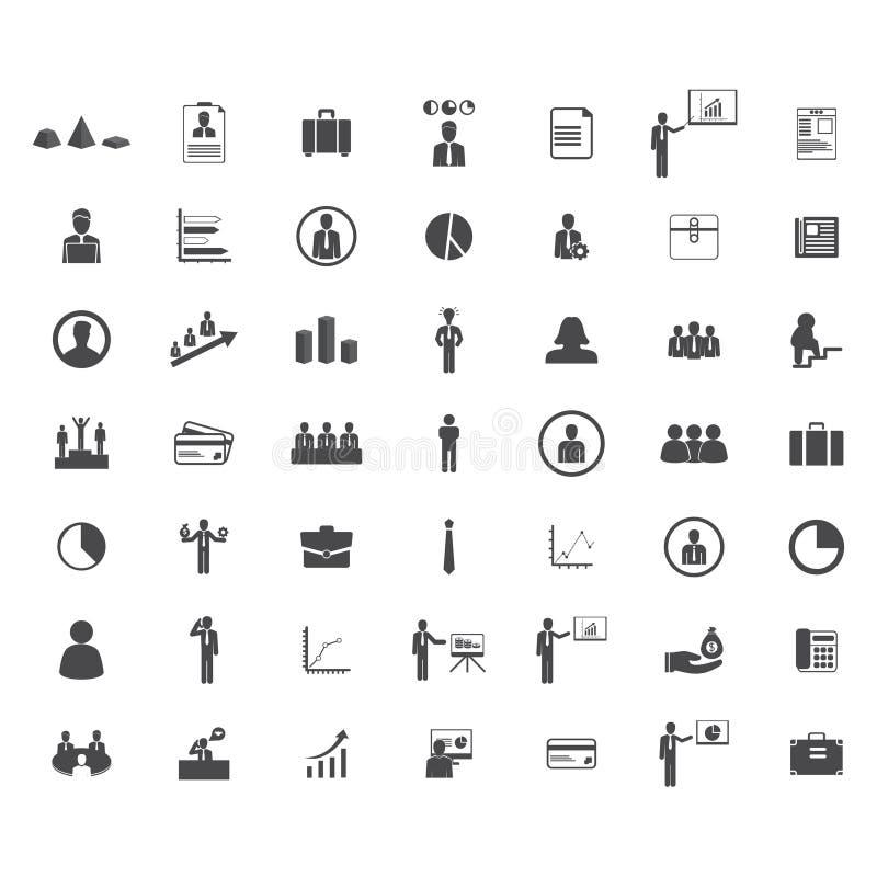 установленные иконы дела Значки для дела, управления, финансов, стратегии, потребителя, маркетинга иллюстрация вектора
