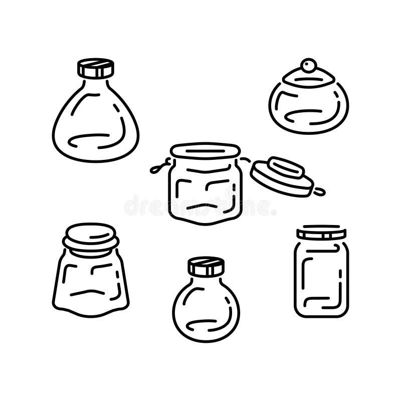 Установленные опарникы стекла Линия значки искусства бутылок Опарникы вектора пустые для специй бесплатная иллюстрация