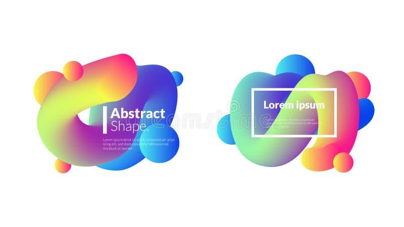 Установленный современный шаблон шарика пузыря градиента иллюстрация вектора