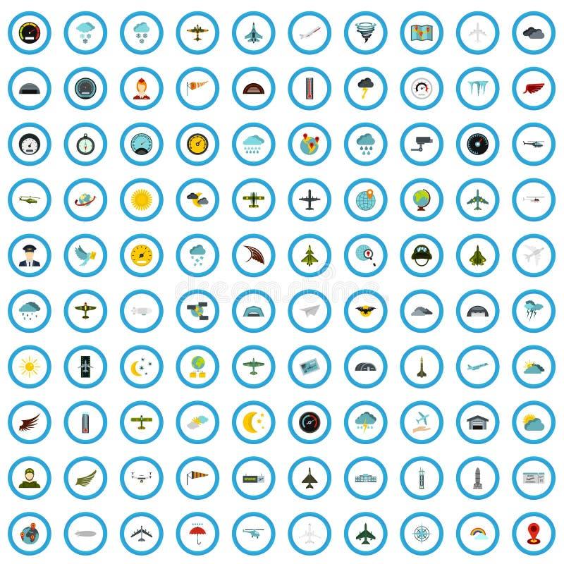 100 установленных значков, плоский стиль авиации иллюстрация вектора