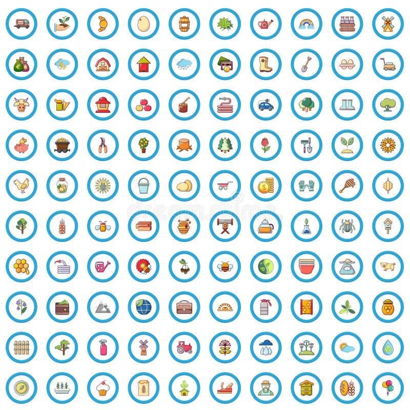 100 установленных значков, стиль фермы шаржа иллюстрация вектора