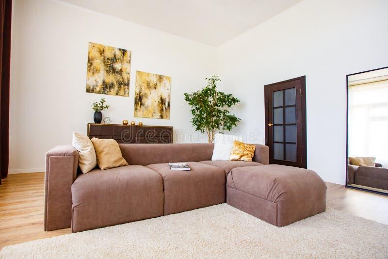 Уютная живущая комната украшенная со стильными элементами стоковые изображения