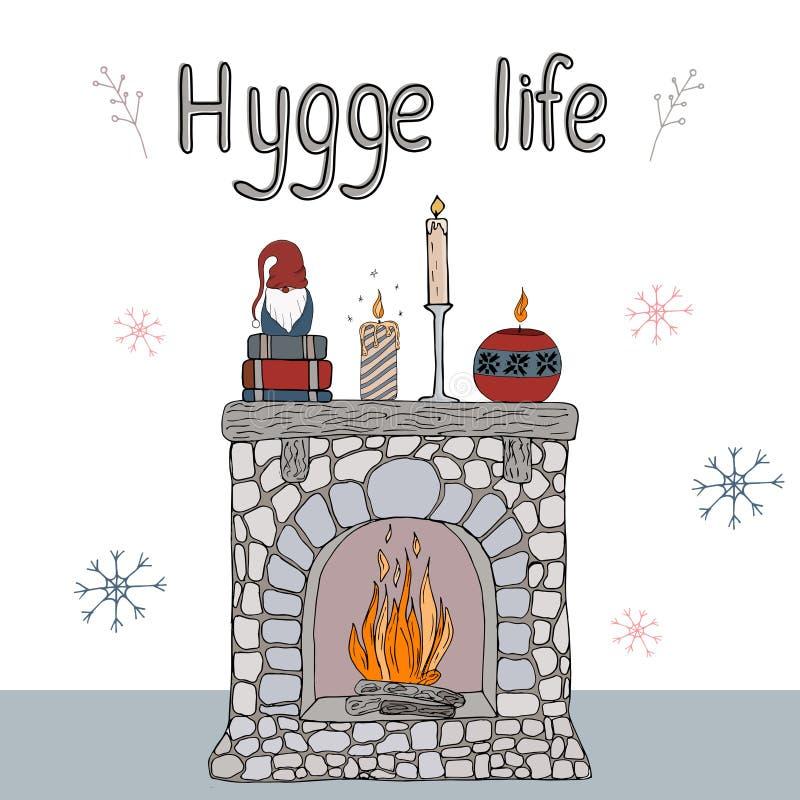 Уютные элементы hygge иллюстрации вектора бесплатная иллюстрация