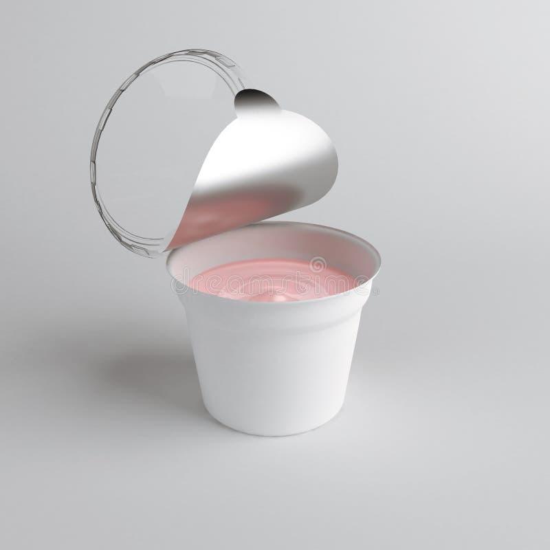 ушат перевода 3D открытый пластиковый с контейнером крышки фольги для десерта, йогурта, мороженого, сметаны, закуски, масла иллюстрация штока