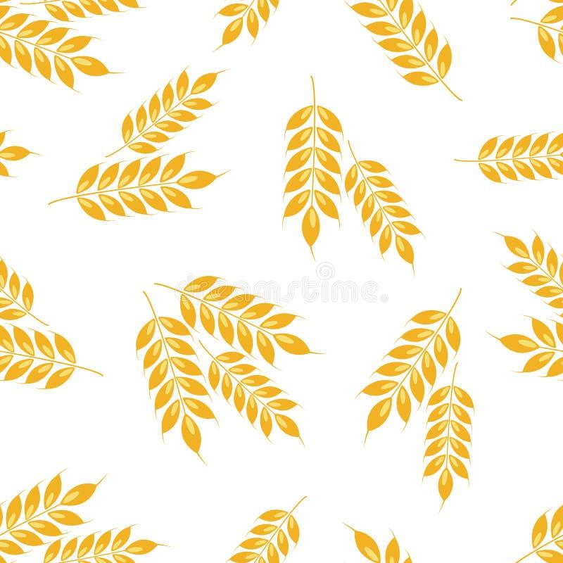 Уши вектора безшовные картины пшеницы иллюстрация штока